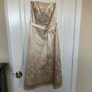 Strapless formal dress.
